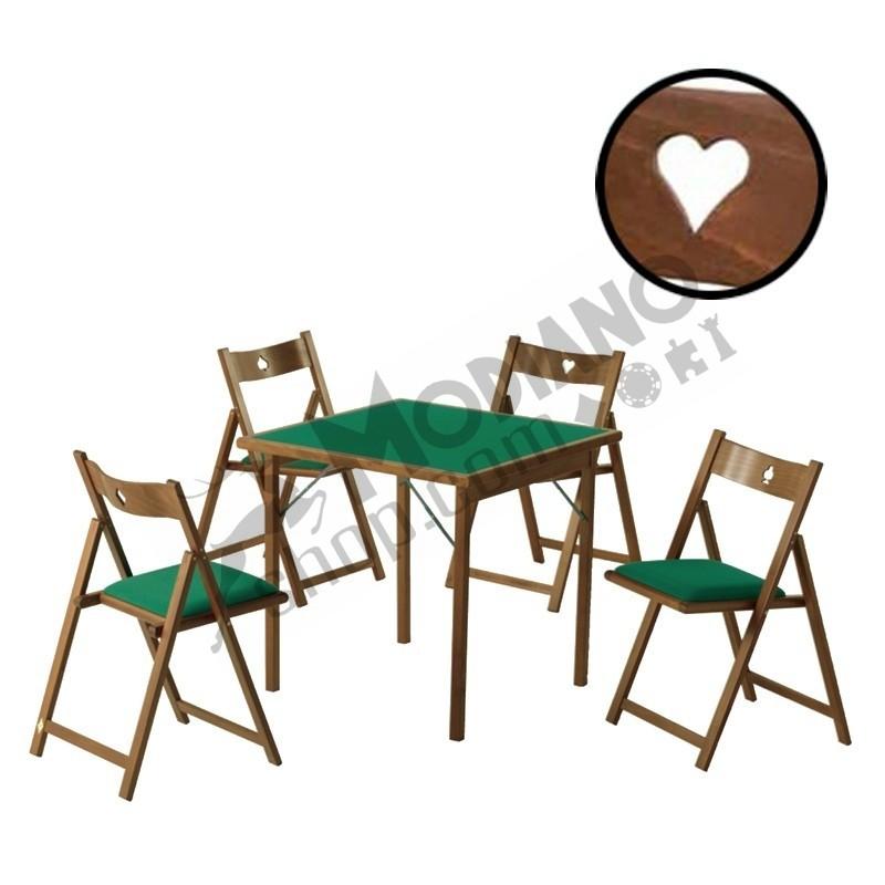 Set di 4 Sedie Poker in Legno massiccio