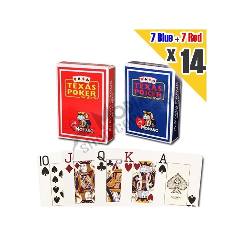 14x Carte MODIANO Poker Texas 100% Plastica Jumbo