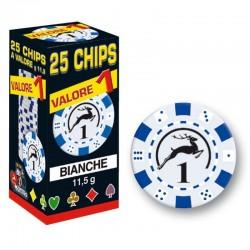 25 Chips 11,5g Bianco VALORE 1 Texas Hold'em