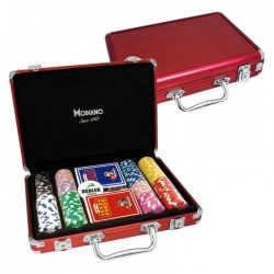 VALIGETTA 200 Chips Poker Alluminio rossa (vuota)